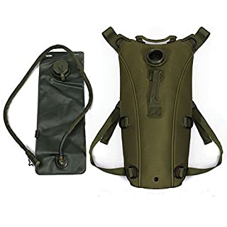 Tactical Hydration Pack Backpacks with 3L Bladder Water Bag and Adjustable Shoulder Strap for Hiking, Biking, Running, Walking and Climbing, army green by AV SUPPLY