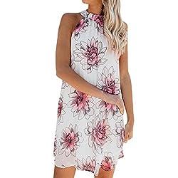 Dresses Women Halter Neck Ladies Floral Printing Round Neck Blackless Sleeveless Mini Dress (White Uk 16)
