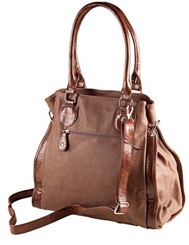 LIBERTA Tasche mit Bulldogge Shopper 1061 Damen Handtasche Bulldog 37x32x12 cm (BxHxT), Farbe:Cognac Blau