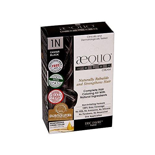 Aequo Organic Jet Black 1N Hair Colour,160ml- Derma Certified