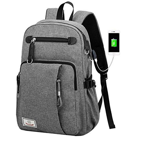 Mioy Schulrucksack groß Herren Slim Business Laptop Backpack Leinwand Schulranzen wasserdicht College Schultasche 15.6'' Notebook Rucksack Mode Reiserucksack Computer Tasche (Grau) -