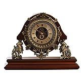 WJB Kaminuhren Schloss stumm Hauptdekoration einfache Art und Weise Ornamente sitzen Glocke aus Holz 26.8x35.5cm