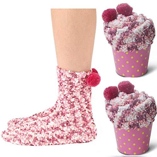JARSEEN 2 Geschenk Box Kuschelsocken Weiche Bequeme Warme Flauschige Haussocken für Damen Mädchen Weihnachtssocken Valentinstag Geschenk (EU 36-42, 2Rosa)