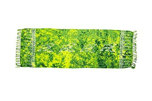 ManuMar Donna sarong | Pareo telo mare | leggero per telo fasciatoio con frange nappe Hell-Grün Delfin