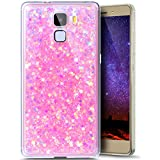 Paillette Coque pour Huawei Honor 7,Huawei Honor 7 Coque Silicone Étui Ultra Mince Housse Brillants Coque Rose Etui en Silicone, Huawei Honor 7 Silicone Case Soft TPU Cover, Ukayfe Etui de Protection Cas en caoutchouc en Ultra Slim Souple Cristal Transparent Clair Gel TPU Bumper Bling Bling Glitter Sparkle Strass Coque Cas Case Cover Couverture Etui pour Huawei Honor 7