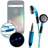 """Ecouteurs LED bleus pour Lenovo Moto G4 / G4 Plus / G4 Play 5,5"""" et Motorola Moto G 3ème génération 4G 5 pouces – luminescents + micro intégré, par DURAGADGET"""