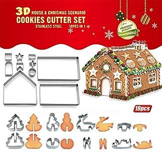 Molde de cortador de galletas Bricolaje para hornear Herramienta de hojaldre Kit de casa de pan de jengibre Molde para hornear Juego de 18 piezas Conjunto de cortadores de galleta Navidad 3D Pastel de