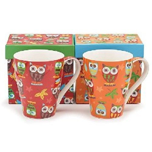 Set of 2 Whimsical Owl Coffee Mugs/cup in Gift Boxes 14 Ounces Adorable Kitchen Decor by Burton & Burton