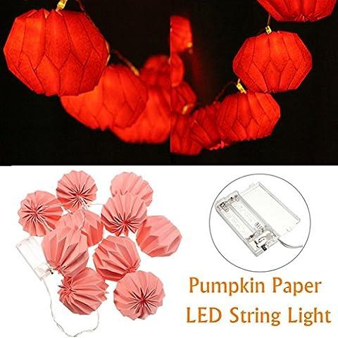 1M 10 LED a batteria zucca della lanterna di carta del partito luci della stringa bianco caldo