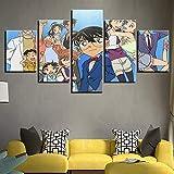 BOYH 5 Stück Drucke auf Leinwand Detektiv Conan Animiertes Charakterplakat Wall Art Home Decor,A,20×35×2+20×45×2+20×55×1