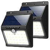 Trswyop - Lampade a energia solare da esterni, 2 pezzi, 33 LED super luminosi, con sensore di movimento, 3 modalità di illuminazione, impermeabile, a energia solare, per giardino, recinzione, pavone