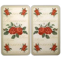 WENKO 2521447500 Cubierta de cocina Universal Rosas - juego de 2 piezas para todos los tipos de cocinas, Vidrio endurecido, 30 x 1.8-4.5 x 52 cm, Multicolor