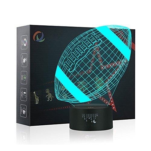 3D Rugby Nachtlicht,7 Farben Berührungssteuerung Zuhause Dekor Tischleuchte,Optische Illusion LED Nachtlampe USB Tischlampe, für Kinder Weihnachten Geburtstag beste Geschenk Spielzeug