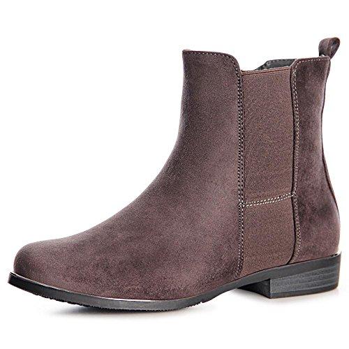 topschuhe24 988 Damen Stiefeletten Chelsea Boots Grau