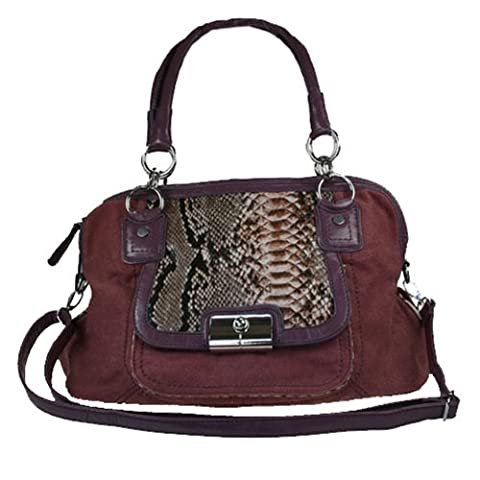 Fashion Handbag in Dusty Pink Canvas Material with Reptile Print printand outside pocket 849-H (DUSTY PINK)
