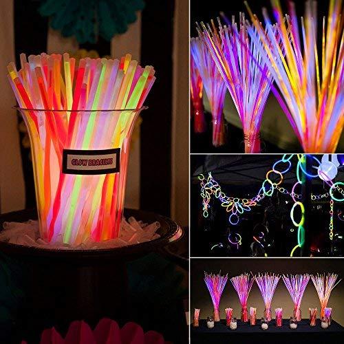 100 Premium Arm Knicklichter Glowsticks mit 50 Verbinder 6 Farbmix 200 x 5mm