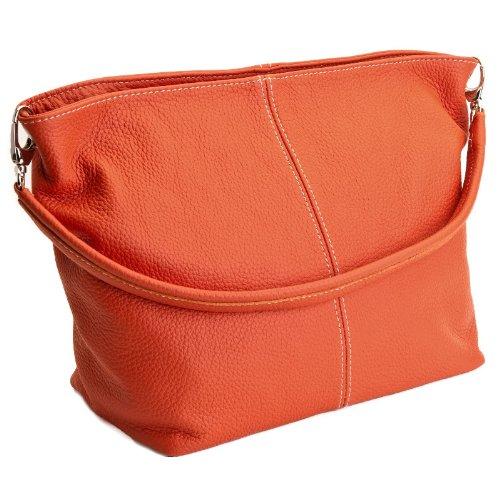 DELARA Piccola borsa shopper in pelle, Made in Italy. Color cachi arancione scuro