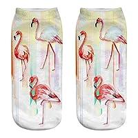 FHCGWZ 5pcs/set 3D Printing Socks Women Girls Socks Female Kawaii Ankle Happy Funny Sock