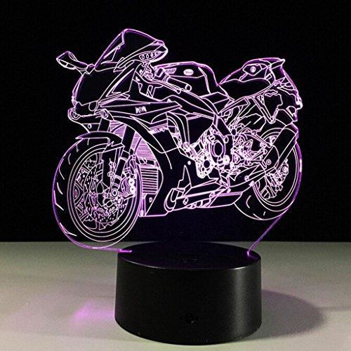 3D moto cadeau acrylique lumière de nuit LED salle de séjour salon chambre éclairage meubles décoration couleur 7 couleurs meubles de maison accessoires