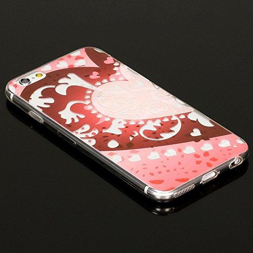 iPhone 6 6S Coque Protection de NICA, Housse Motif Silicone Portable Premium Case Cover Transparente, Ultra-Fine Souple Gel Slim Bumper Etui pour Apple iPhone 6S 6 Smartphone - Blooming Flowers Heart