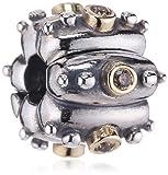 Pandora Damen-Charmclip Fusion Brown Cubic Circoniums In 14K Gold Bezel 790853Bcz