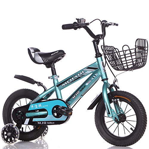 1-1 Kinder Fahrrad Verstellbare Höhe Blitz PU-Räder Mountainbike Doppelbremse Junge Mädchen Sicherheit Dämpfung 12 Zoll,Blue