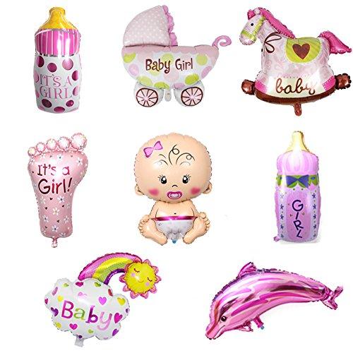 ED-Lumos Globos de Helio Decoración para Fiesta de Recién Nacido para la niña Globos de Aluminio 8pcs Forma Bebé Caballo 2Biberón Coche de niño Pie de bebé Delfín
