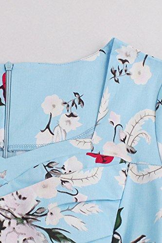 Babyonlinedress Robe de Soirée/Cocktail/Bal Courte Rétro Vintage Style Audrey Hepburn Rockabilly Swing Impression année 1950 avec Manches Courtes Bleu