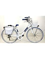 """Bicicleta Cicli Adriatica Panarea para mujeres cuadro de acero 28"""" 6 velocidades talla 45 (Blanco Azul)"""