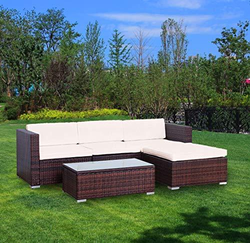 youke set da 5 pezzi di arredamento da giardino o veranda in vimini con divano e sgabello, marrone