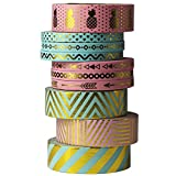 UOOOM 10 Rolls Beautiful Farbe und Gold Washi Tape Masking Tape deko Klebeband buntes Klebebänder DIY Scrapbook deko (Design 9063)