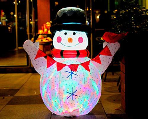 CCLIFE Led Schneemann Beleuchtet Aufblasbar Schneemänner 120/180 CM, Farbe:Weiß008-120cm