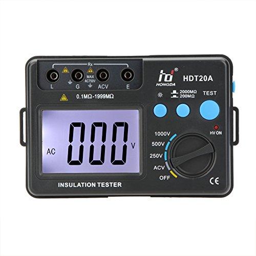 KKmoon HD HDT20A Tester Resistenza d\'Isolamento Meter Megohmmeter Voltmetro 1000V w/LCD Retroilluminato