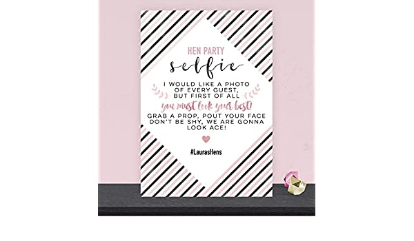 Personalised Hen Party Selfie Photo Booth Sign Blush Gold Pink /& Black HEN5