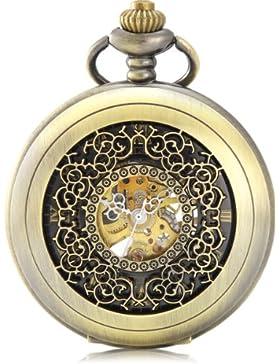 Alienwork Retro Handaufzug mechanische Taschenuhr Skelett Uhr graviert schwarz bronze braun Metall W914-01