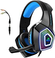 Gaming Headset with Mic for Xbox One PS4 PC Switch Tablet Smartphone, Headphones Stereo Over Ear Bass 3.5mm Mi