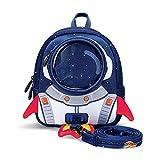 Rucksack für Kinder, Nette 3D-Rakete Rucksack mit Sicherheitsgurt Schultaschen für Jungen Mädchen-Geschenk für 1-3,3-6 Jahre