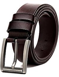 MUCO Ceinture homme en cuir avec boucle de zinc ceinture mode ceinture chic  ceinture de sport e175acbe561