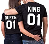 Minetom King Queen couple T-shirt Partner Look Couple Set couple Noir Queen FR 36(Femme)