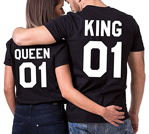 Minetom Mode King Queen Couples T-shirt Sommer Damen Herren Rundhals Kurzarm Drucken Tops Tee Hochzeitstagsgeschenk Geburtstagsgeschenk, Schwarz Queen, DE 50(Herren) (V-neck Bio-baumwolle Hoodie)