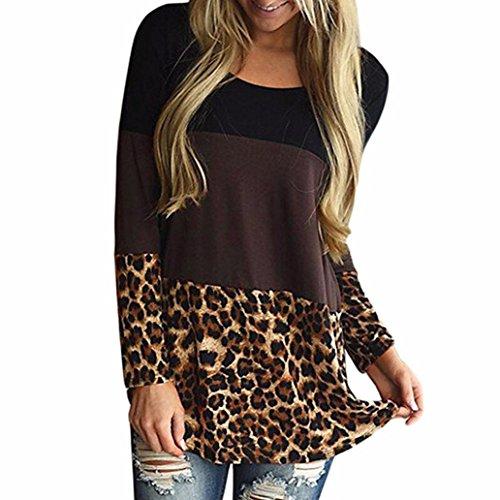 Falten Sie Unten (Hevoiok Damen Warm Leopard Pullover Bluse, Neu Mode Winter Frühling Casual Langarm Zurück Spitzen Tunika Tops Oberseite (Braun, M))