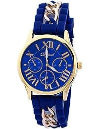SODIAL(R) Reloj de pulsera de correa de aleacion de silicona Caja dorada- Azul real