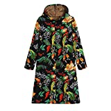 IMJONO Womens Winter Warm Outwear Floral Print Hooded Pockets Vintage Oversize Coats (Medium,Schwarz)