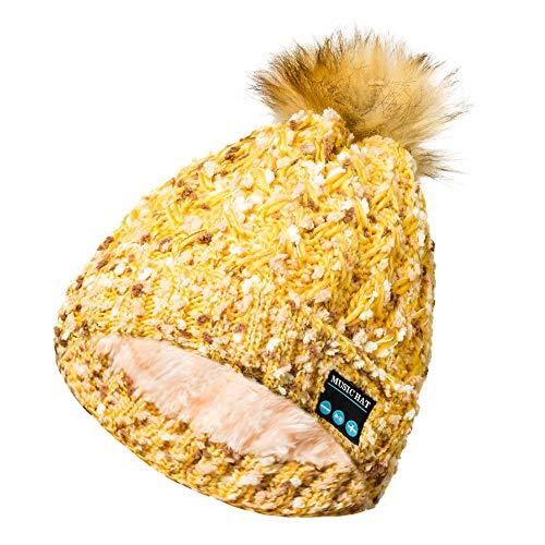 JMETRIC Damen Bluetooth-Strickmütze |Bommelmütze mit Bluetooth Kopfhörer|Wintermütze|Gestrickt Verdicken Wintermütze|Mode Wärme