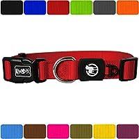 [Gesponsert]DDOXX Hundehalsband Nylon | für große, mittelgroße, mittlere & kleine Hunde | Halsband Hund | Hundehalsbänder | Katzen Halsbänder | Katzenhalsband | Zubehör | Rot, XS - 1,0 x 21-30 cm