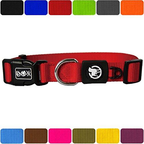 DDOXX Hundehalsband Nylon | für große & Kleine Hunde | Katzenhalsband | Halsband | Halsbänder | Hundehalsbänder | Hund Katze Katzen Welpe Welpen | klein breit Leuchtend bunt | Rot, M