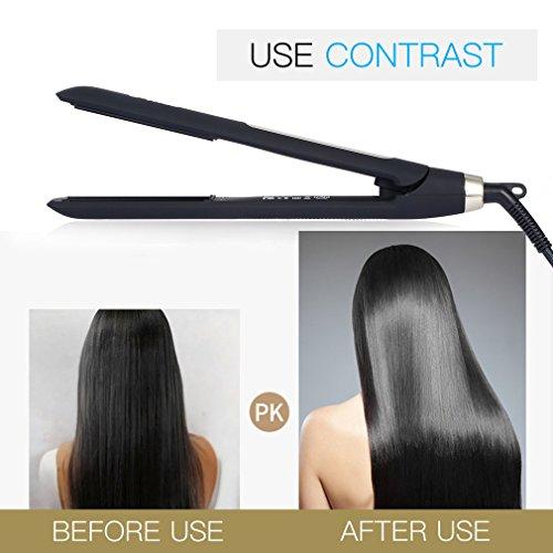 U-Kiss Ultra delgado pantalla LCD digital, placa de titanio, cable giratorio, alisador de cabello con pantalla táctil