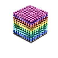sunsoy 1000 Pieces Magnetic Sculpture Magnet Building Blocks Fidget Gadget Toys for Stress Relief, Office and Home Desk Decor, Cool Gadget for Adult,Man,Women 3 MM Rainbow Color