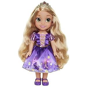 Jakks Pacific- Princesa Disney, muñeca Rapunzel Detalle. Fíjate en su Pelo, Vestido, Corona, Zapatitos Toddler 35cm, Color Multicolor con Preciosos Estampados (Glop Games 78849)