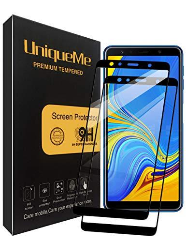 UniqueMe per Samsung Galaxy A7 2018 Pellicola Protettiva, [2 Pezzi] [Copertura Completa] Proteggi Schermo in Vetro temperato con Sostituzione a Vita - Nero